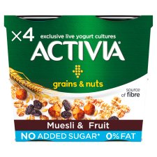 Activia Muesli Fruit 0% Fat Yogurts 4X120g