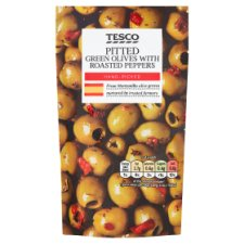 Tesco Pitted Green Olives With Red Peppers
