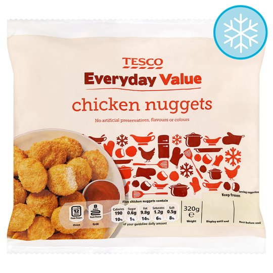 Tesco Everyday Value Breaded Chicken Nuggets 320G
