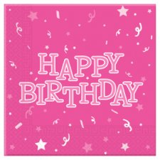 Tesco Pink Happy Birthday Napkin 16Pk