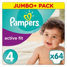 Pampers Active Fit Size 4 Jumbo+ Pack 64 Nappies