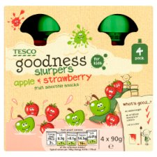 Tesco Goodness Apple And Strawberry Slurpers 4X90g