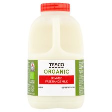 Tesco Organic British Skimmed Milk 568Ml/1 Pint