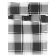 Tesco Black Oversized Check Duvet Set Single
