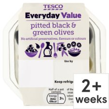 Tesco Everyday Value Black And Green Olives 95G