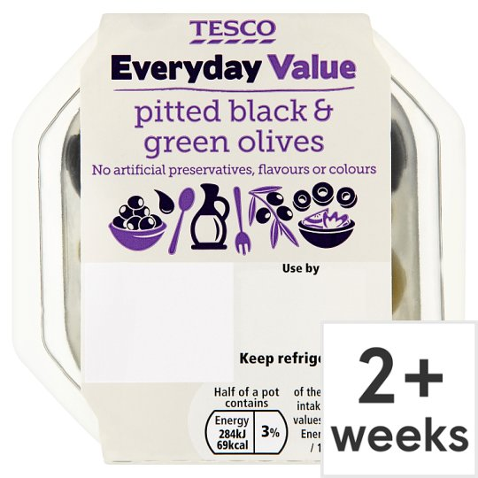 Tesco Everyday Value Pitted Black And Green Olives 95G