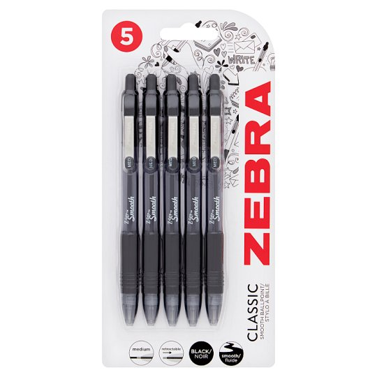 Zebra Z-Grip Smooth Ballpoint Pen 5Pack Black