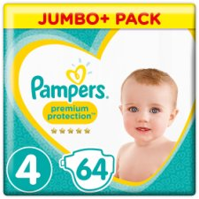 Pampers Premium Protection Size 4 Jumbo+ Pack 64 Nappies