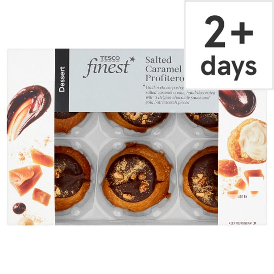 image 1 of Tesco Finest Salted Caramel Profiteroles 6 Pack 124G