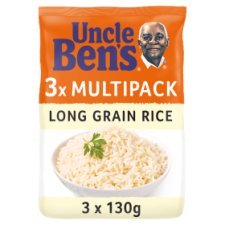 Uncle Bens Microwave Long Grain Rice 3 X 130G