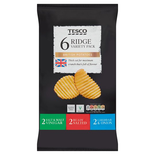 Tesco Ridge Cut Variety Crisps 6X30g