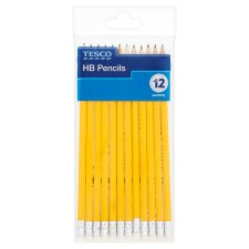 Tesco 12 Pack Hb Pencils With Erasers