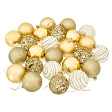 Tesco Gold Baubles 25 Pack