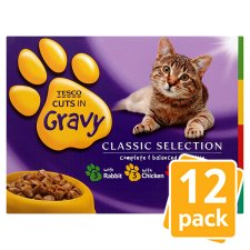Tesco Cuts In Gravy Cat Food Pouches 12 X100g