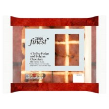 Tesco Finest 4 Toffee Fudge And Belgian Chocolate Hot Cross Buns