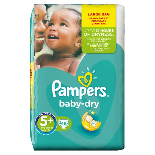 Pampers Baby Dry Size 5+ Large Pack 48 Nappies