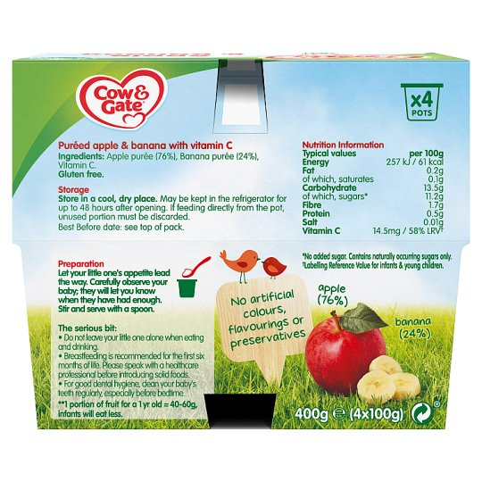 Cow & Gate Apple And Banana Fruit Pot 4X100g 4 Mth+