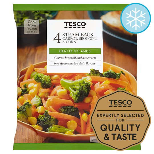 Tesco 4 Steam Bag Carrots Broccoli And Sweetcorn 640G