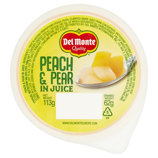 Del Monte Fruit Express Pear And Peach In Juice 113G