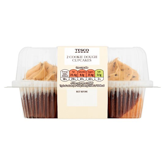 Tesco Cookie Dough Flavour Cupcakes 2 Pack