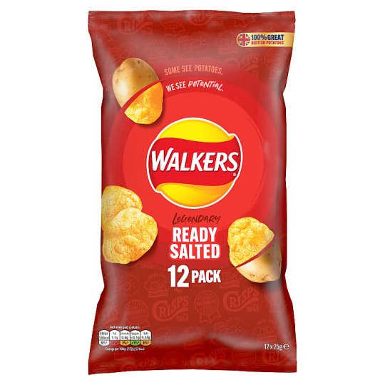 Walkers Ready Salted Crisps 12 X 25G