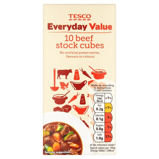 Tesco 10 Value Beef Stock Cubes 100G