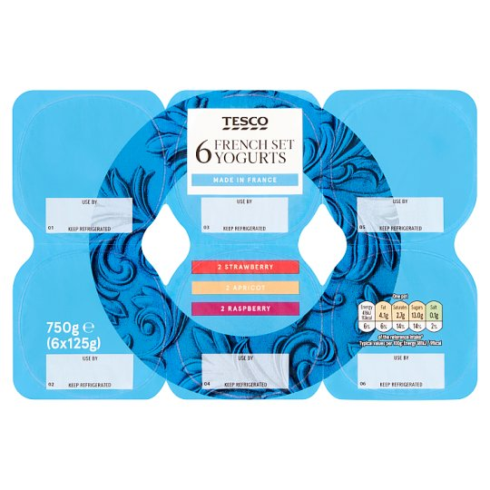 Tesco French Set Yogurt 6 X125g