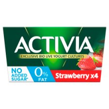 Activia 0% Fat Strawberry Yogurt 4 X125g