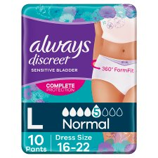 Always Discreet Normal Large Incontinence Pants 10 Pack