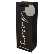Tesco Black And Silver Cheers Bottle Bag