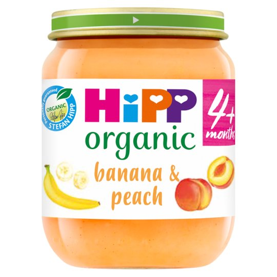 Hipp 4 Month Organic Banana And Peach Dessert 125G Jar