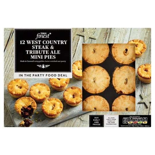 Tesco Finest 12 Steak And Ale Pies 360G