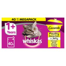 image 1 of Whiskas 1+ Casserole Poultry Cuts In Jelly Cat Pouches 40 X85g