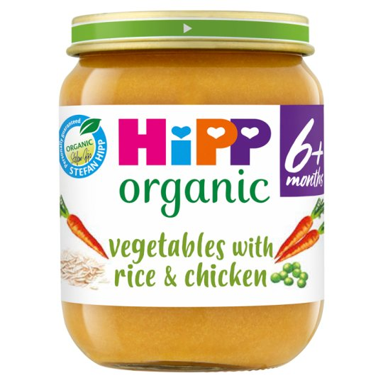 Hipp 4 Month Organic Vegetable And Rice With Chicken 125G Jar