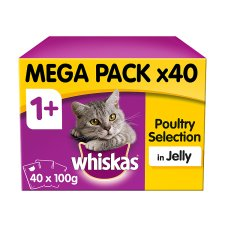 image 1 of Whiskas 1+ Cat Food Pouches Poultry in Jelly 40x100g