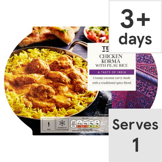 Tesco Indian Chicken Korma And Rice 450G