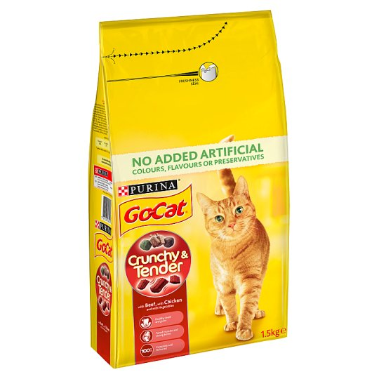 image 1 of Go Cat Crunchy And Tender Beef And Chicken 1.5Kg