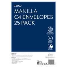 Tesco Manilla Envelopes C4 25Pk