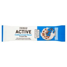 Tesco Active Cookies And Cream Flavour Protein Bar 60G