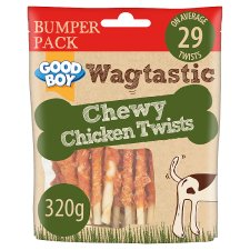 image 1 of Wagtastic Chewy Chicken Twists Dog Chew Treats 320G