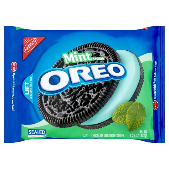Nabisco Oreo Mint Creme Chocolate Cookies 432G - Groceries - Tesco ...
