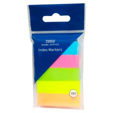 Tesco Sticky Index Markers 100 Sheet 5 Pack