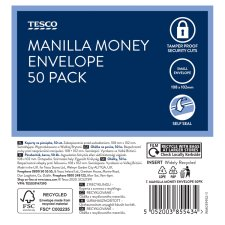 Tesco Money Envelopes 50 Pack