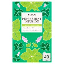Tesco Peppermint 40 Tea Bags 60G
