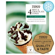 Tesco Mint And Chocolate Cones 4 X 110Ml