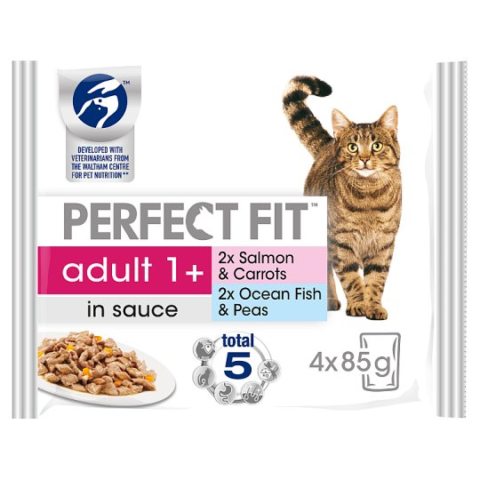 image 1 of Perfect Fit Fish Cat Food Pouches 4 X 85G