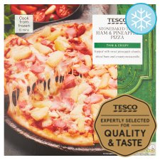 Tesco Stonebaked Ham & Pineapple Pizza 375G