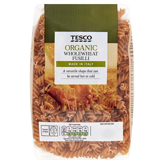 Tesco Organic Whole Wheat Fusilli 500G