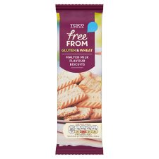 Tesco Free From Malted Milk Flavoured Biscuits 160G