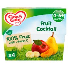 Cow & Gate Fruit Cocktail Fruit Pot 4X100g 4 Mth+